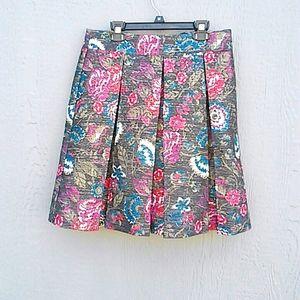 LOFT | Metallic pleated skirt size 6